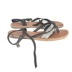 efebc1bfb579 Toms Shoes - B54 Toms Lexie Sandals Sz 10 Black Flip Flop Ankle